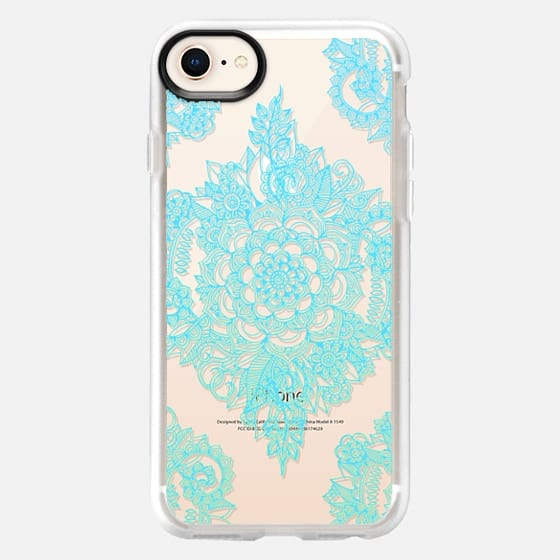 Pretty Turquoise Floral Pattern on Crystal Transparent - Snap Case