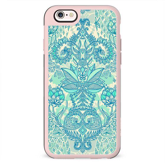 Botanical Geometry - nature pattern in blue, mint green & cream