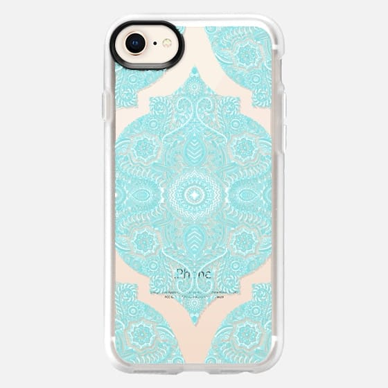 Moroccan Lace - white & turquoise pattern on transparent - Snap Case