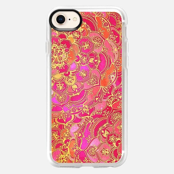 Hot Pink and Gold Baroque Floral Pattern - Snap Case