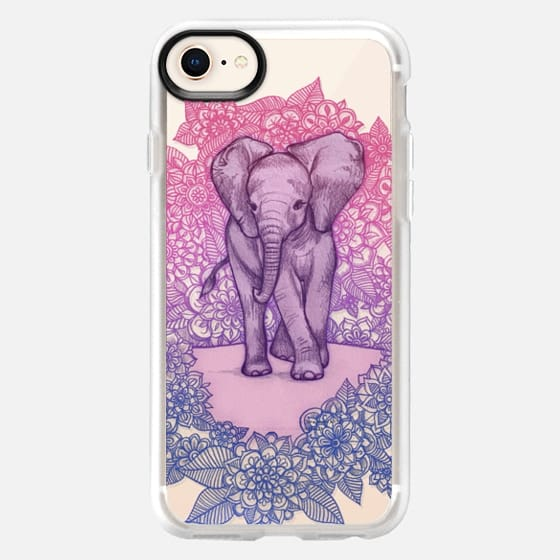 Cute Baby Elephant in pink, purple & blue on transparent - Snap Case