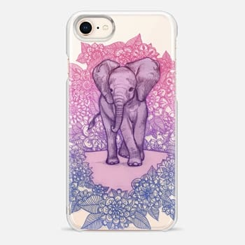 iPhone 8 Case Cute Baby Elephant in pink, purple & blue on transparent
