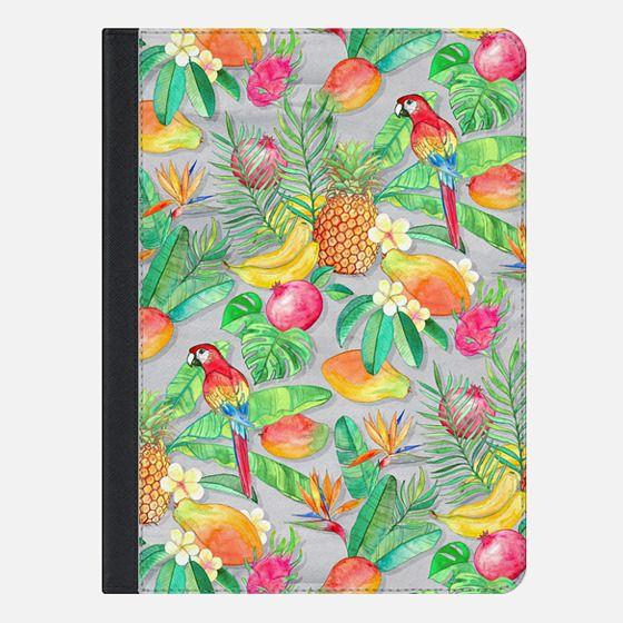 Tropical Paradise Fruit & Parrot Pattern iPad cover - iPad Folio Case