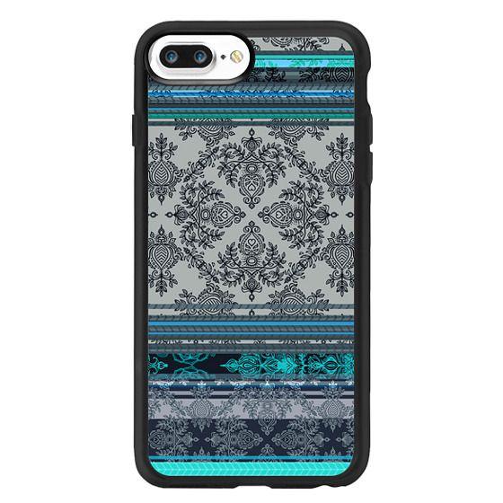 Classic Grip Iphone 7 Plus Case Teal Aqua Grey Vintage Bohemian Wallpaper Pattern