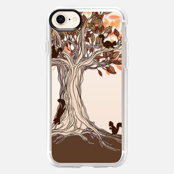 Little Squirrel Tree - transparent on wood - Snap Case