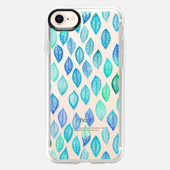 Watercolor Leaf Pattern in Blue & Turquoise on Crystal Transparent - Snap Case