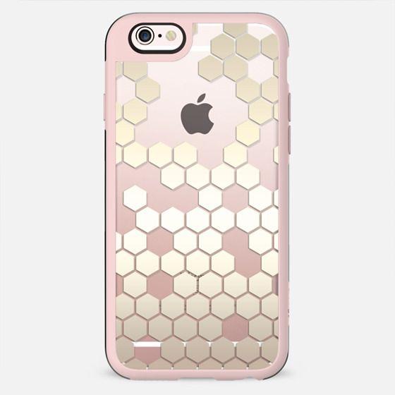 Nude Metallic Effect Hexagon Pattern on Crystal Transparent