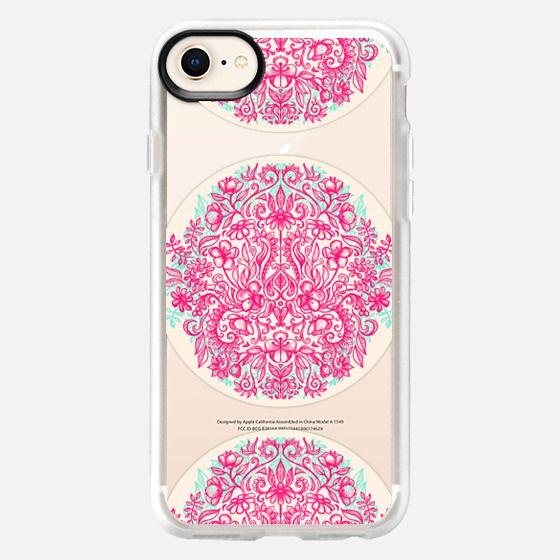 Spring Arrangement - pink transparent floral doodle design - Snap Case
