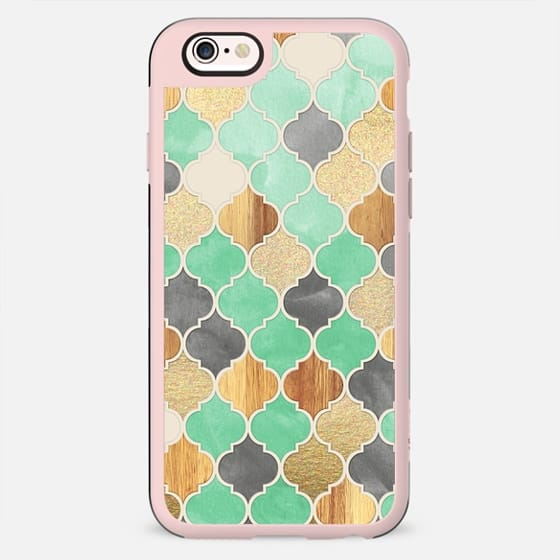 Charcoal, Mint, Wood & Gold Moroccan Pattern - New Standard Case