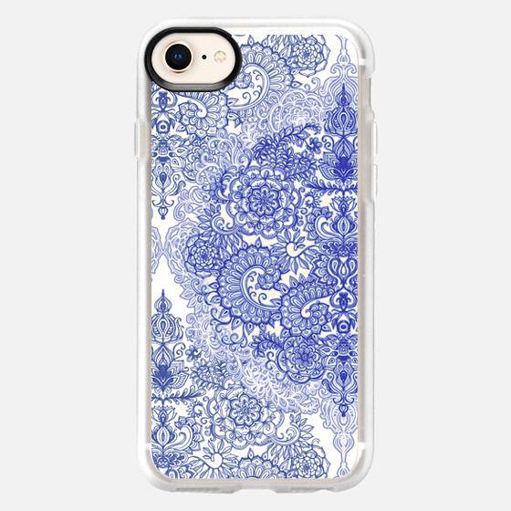 Blue & White Decorative Vintage Doodle - Snap Case