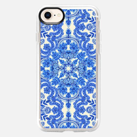 Cobalt Blue & China White Folk Art Pattern - Snap Case