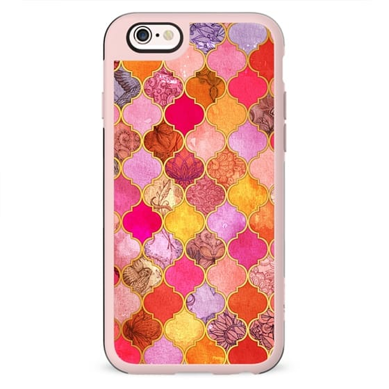 Hot Pink, Gold, Tangerine & Taupe Decorative Moroccan Tile Pattern