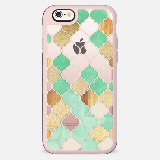 Mint Green, Gold & Wood Moroccan Pattern on Transparent