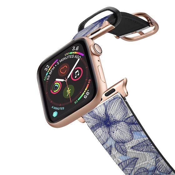 Apple Watch 42mm Bands - Indigo Summer - a hand drawn floral pattern band