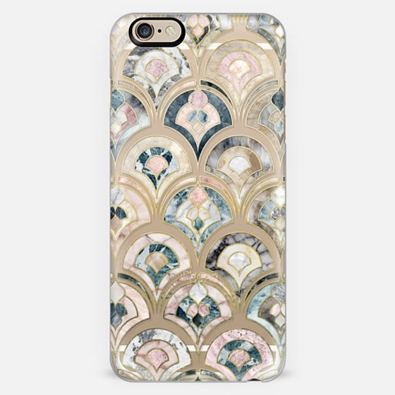 Art Deco Marble Tiles in Soft Pastel on transparent -
