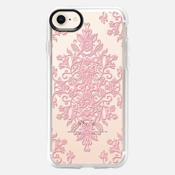 Pink Lace Baroque Doodle on Transparent - Snap Case