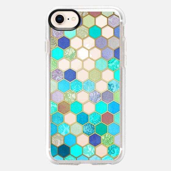 Turquoise & Purple Honeycomb Pattern - transparent - Snap Case