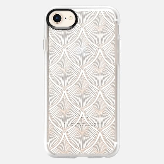 White Art Deco Lace on Crystal Transparent - Snap Case