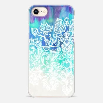 iPhone 8 Case Indigo & Aqua Abstract with White Doodle
