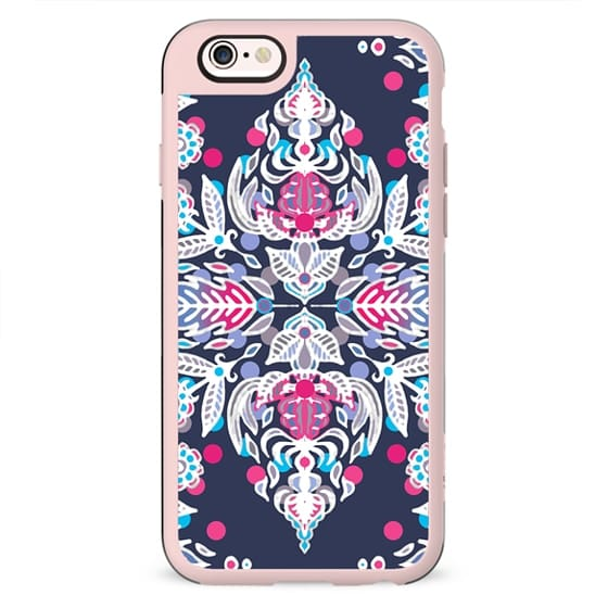 Pastel Folk Art Pattern in soft navy, pink, mauve & white
