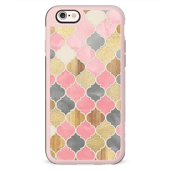 Silver Grey, Soft Pink, Wood & Gold Moroccan Pattern
