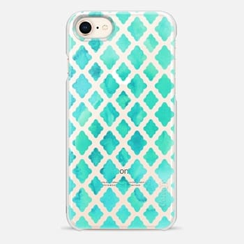 iPhone 8 Case Mint Green Watercolor Diamond Pattern - transparent