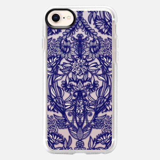 Deep Navy Blue Botanical Floral Doodle on Wood - Snap Case