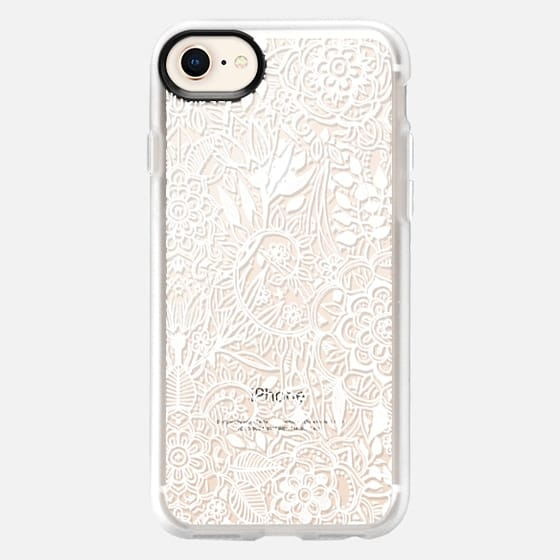 Frosty Floral - white hand drawn floral pattern on crystal transparent - Snap Case