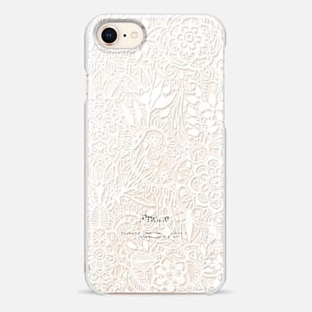 iPhone 8 Case Frosty Floral - white hand drawn floral pattern on crystal transparent