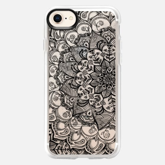 Shades of Crystal Grey Transparent Doodle - Snap Case