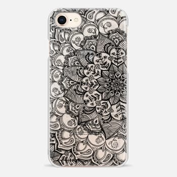 iPhone 8 Case Shades of Crystal Grey Transparent Doodle