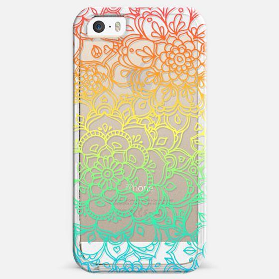 Rainbow Transparent Floral Doodle - Classic Snap Case