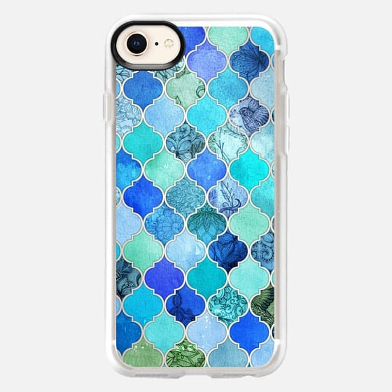 Cobalt Blue, Aqua & Silver Grey Decorative Moroccan Tile Pattern - Snap Case