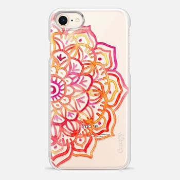 iPhone 8 Case Watercolor Medallion in Sunset Colors on Transparent