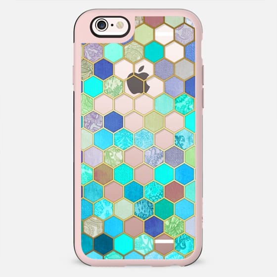 Turquoise & Purple Honeycomb Pattern - transparent - New Standard Case
