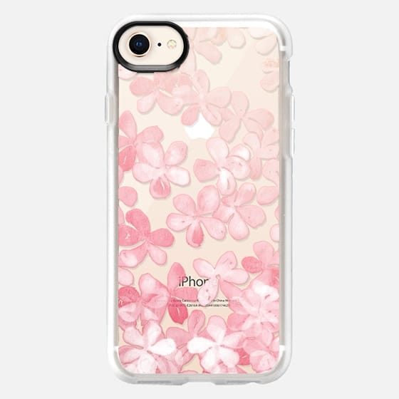 Spring Blossoms - pastel pink & cream floral painted pattern on transparent - Snap Case