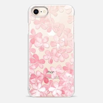 iPhone 8 Case Spring Blossoms - pastel pink & cream floral painted pattern on transparent