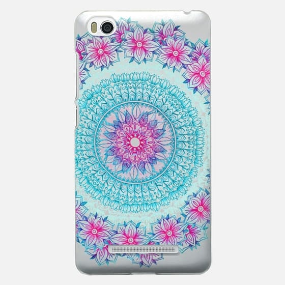 Centered Pink & Teal Floral Mandala
