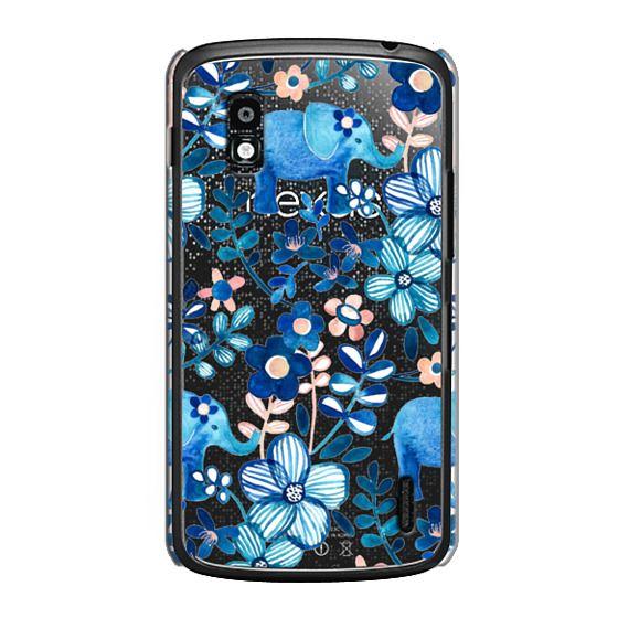 Little Blue Elephant Watercolor Floral on Transparent