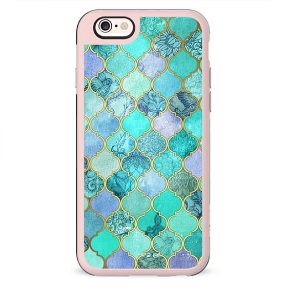 Cool Jade & Icy Mint Decorative Moroccan Tile Pattern