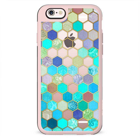 Turquoise & Purple Honeycomb Pattern - transparent