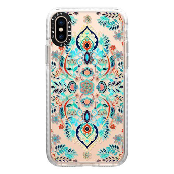 iPhone XS Cases - Boho Folk Art on Transparent
