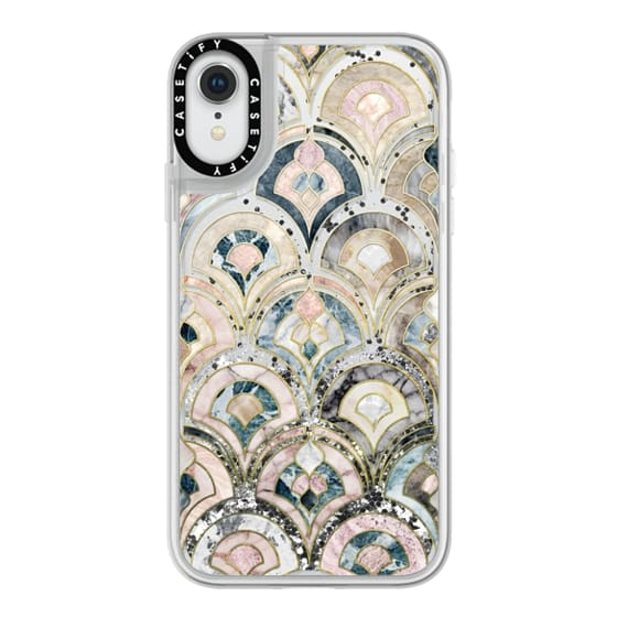 iPhone XR Cases - Art Deco Marble Tiles in Soft Pastel on transparent
