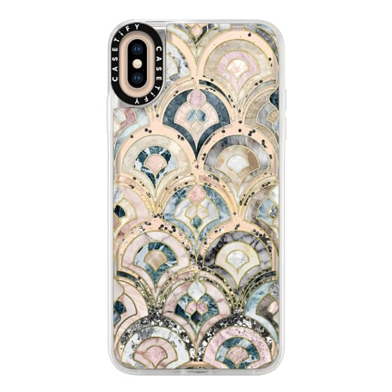 iPhone XS Max Cases - Art Deco Marble Tiles in Soft Pastel on transparent