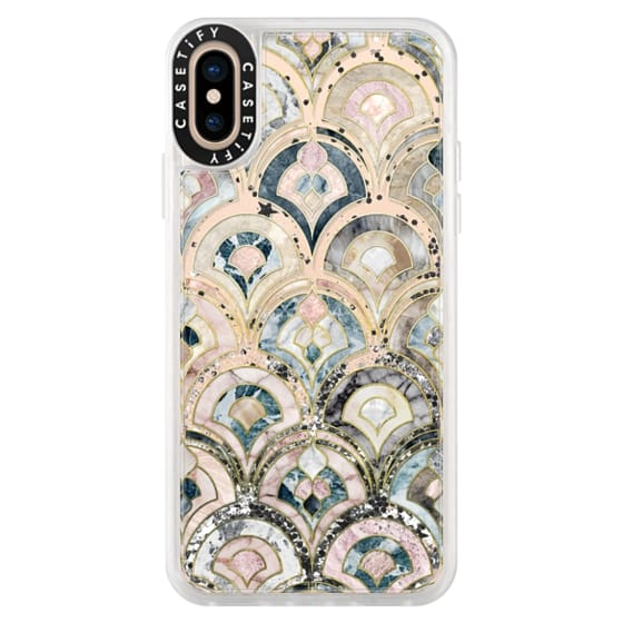 iPhone XS Cases - Art Deco Marble Tiles in Soft Pastel on transparent