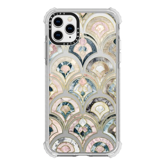 iPhone 11 Pro Max Cases - Art Deco Marble Tiles in Soft Pastel on transparent