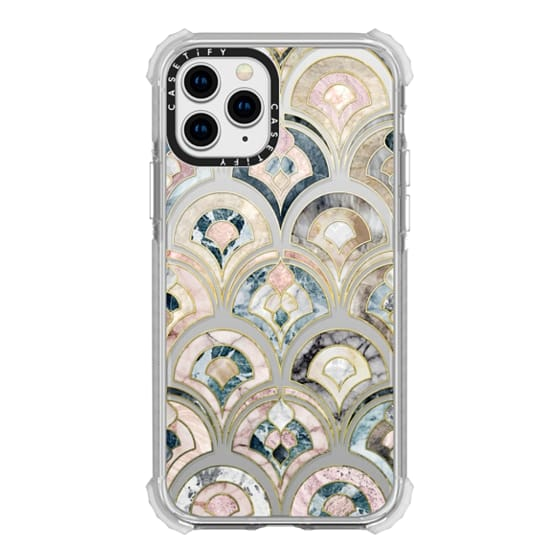 iPhone 11 Pro Cases - Art Deco Marble Tiles in Soft Pastel on transparent