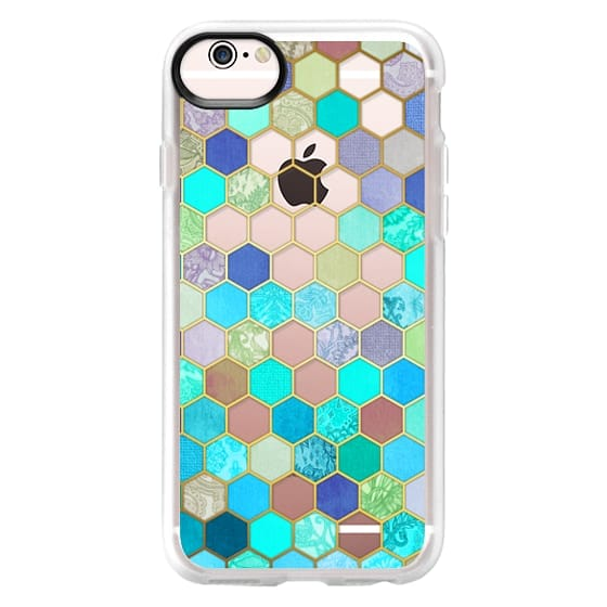 iPhone 6s Cases - Turquoise & Purple Honeycomb Pattern - transparent