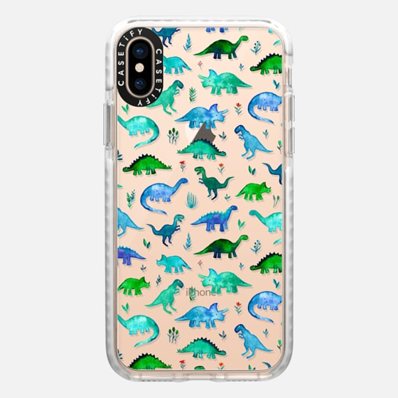 iPhone 7 Plus/7/6 Plus/6/5/5s/5c Case - Tiny Watercolor Dinos on transparent