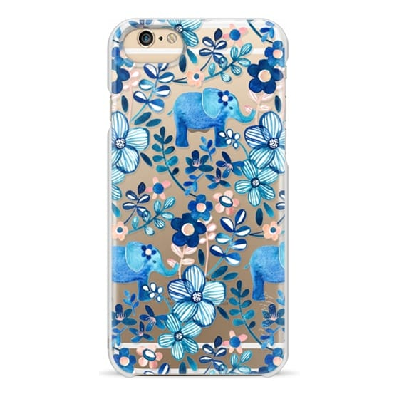 iPhone 6 Cases - Little Blue Elephant Watercolor Floral on Transparent